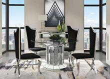 "Acme 72140-62079 5 pc Noralie mirrored faux diamonds inlay 52"" round dining table set"