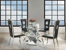 "Acme 72145-62078 5 pc Noralie mirrored faux diamonds inlay 52"" round dining table set"