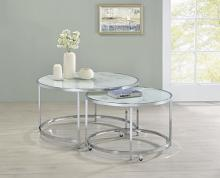 721528 2 pc Wildon home orren ellis brushed steel round nesting faux marble glass top coffee table set