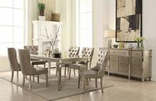 Acme 72155-57 7 pc Kacela champagne finish wood mirror accents dining table set