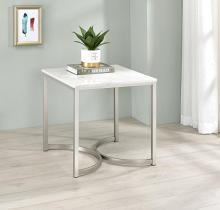 721867 Wildon home orren ellis satin nickel finish metal faux marble top end table