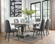 Acme 72200-02 7 pc One allium way jessica waylon gray oak finish wood double pedestal dining table set