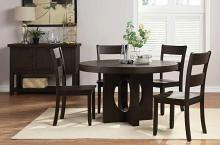 Acme 72215-12 5 pc haddie distressed walnut finish wood round dining table set