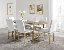 Acme 72235 7 pc Entropy ash oak and champagne metal finish dining table set