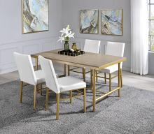 Acme 72270 5 pc Entropy ash oak and champagne metal finish dining table set