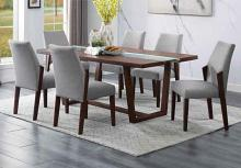 Acme 72295-97 7 pc Benoit brown finish wood LED lighted center strip dining table set