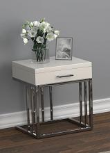 723137 Orren ellis 1 drawer glossy white chrome metal frame end table