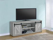 "723263 Gracie oaks grey driftwood finish wood farmhouse 71"" tv stand with sliding doors"