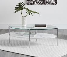 723278 Wildon home chrome finish metal and oval faux marble and glass top coffee table