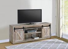 "723283 Gracie oaks weathered oak finish wood farmhouse 71"" tv stand with sliding doors"
