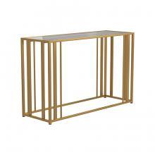 723609 Wildon home orren ellis matte brass finish metal glass top sofa table