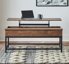 723778 Wildon home red barrel studio brown oak finish wood lift top coffee table