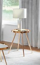 723917 Wildon home orren ellis gold round mirror top end table
