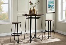 "Acme 72440 3 pc Nirav oak and walnut finish wood and metal 38"" round bar height table set"