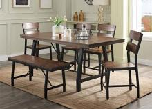 Acme 72455-57-58 6 pc Mariatu industrial oak finish wood dining table set