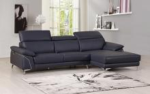 727NAVY-2PC-SECT 2 pc Orren ellis luigi divanitalia navy italian leather sectional sofa with chaise