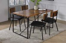 Acme 72910-12 5 pc Darby home co yeung jurgen oak finish wood black metal frame dining table set