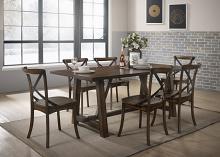Acme 73030-32 7 pc Kaelyn dark oak finish wood black accents dining table set