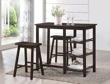 Acme 73050 3 pc nyssa walnut finish wood counter height breakfast dining set