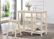 Acme 73052 3 pc nyssa buttermilk finish wood counter height breakfast dining set