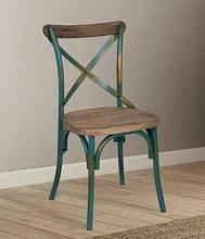 Acme 73072 Zaire antique turquoise finish metal frame dining chair