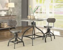 "Acme 73130 3 pc Fatima II gray oak finish wood metal 36"" round counter height table set"