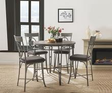 Acme 73180-82 5 pc Landis gunmetal metal oak finish wood counter height dining table set