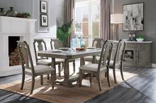 Acme 73260 7 pc Foundry select Zumala weathered gray oak finish wood faux marble top dining table set