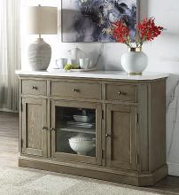Acme 73263 Foundry select Zumala weathered gray oak finish wood faux marble top dining server buffet cabinet