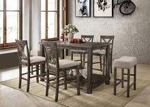 Acme 73830-32-33 7 pc Martha II weathered gray finish wood counter height dining table set