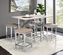 Acme 74005-07 5 pc Wildon home Raine antique white and chrome counter height dining table set