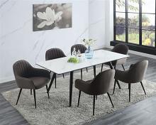 Acme 74010-11 7 pc Waldorf park caspian black finish wood faux marble top dining table set