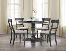 "Acme 74640-42 5 pc Leventis weathered gray finish wood 47"" round dining table set"
