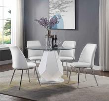 "Acme 74925-77152 5 pc Chara white high gloss 45"" round glass top dining table set"