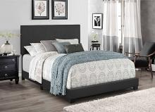 7554 Home source regents dark gray linen like fabric queen bed set