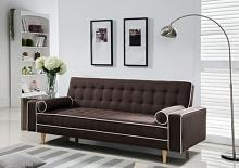 7567-BR Marleen brown linen like fabric click clack folding futon sofa bed