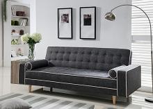 7567-GY Marleen gray linen like fabric click clack folding futon sofa bed