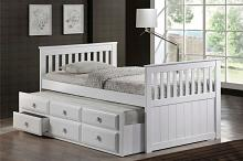 7590-WH Harriet bee riley captains mission style white finish wood twin size bed with storage trundle bed