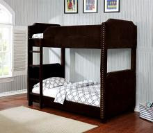 7602 Dulcie charlene james brown velveteen fabric upholstered twin over twin bunk bed
