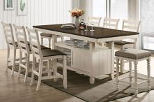 Acme 77180-83 7 pc Gray barn rooney tasnim antique white oak finish wood counter height dining table set