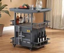 Acme 77909 Cargo container gunmetal metal kitchen island cart