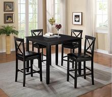 7820-5PC 5 pc Red barrel studio titsworth black finish wood counter height dining table set