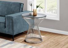"""ACCENT TABLE - 24""""H / STAINLESS STEEL WITH TEMPERED GLASS"""