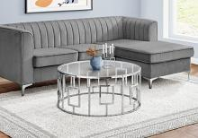 """COFFEE TABLE - 36""""DIA / CHROME METAL WITH TEMPERED GLASS"""
