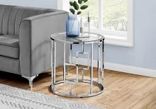 """ACCENT TABLE - 23""""H / CHROME METAL WITH TEMPERED GLASS"""