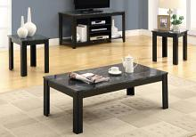TABLE SET - 3PCS SET / BLACK / GREY MARBLE-LOOK TOP
