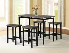 7866-5PK  5 pc Wrought studio denzel brown finish wood counter height dining table set