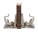 Adorable silvery shiny cat bookend