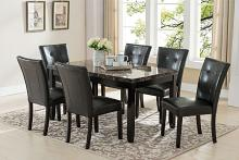 7888-7763-7PC 7 pc Red barrel studio bales espresso finish wood faux marble top dining table set