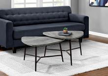 TABLE SET - 2PCS SET / GREY RECLAIMED WOOD / BLACK METAL